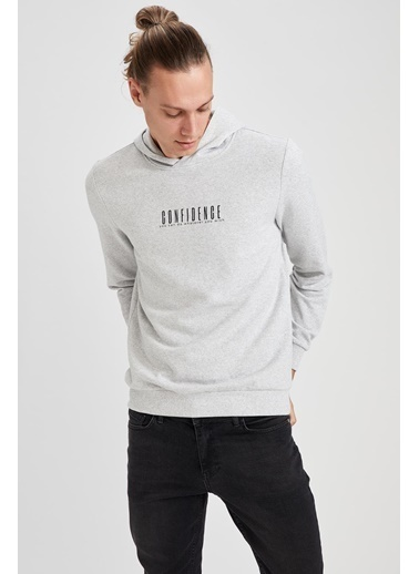 DeFacto Baskılı Kapüşonlu Slim Fit Sweatshirt Gri